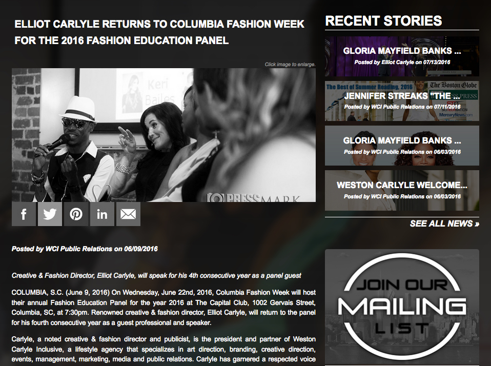 Tearsheet from Elliot Carlyle's Columbia Fashion Week feature on the Weston Carlyle website