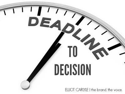 "A clock with the caption ""Deadline to Decision"""
