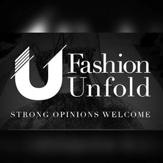 """Fashion Unfold logo with caption """"Strong Opinions Welcome"""""""