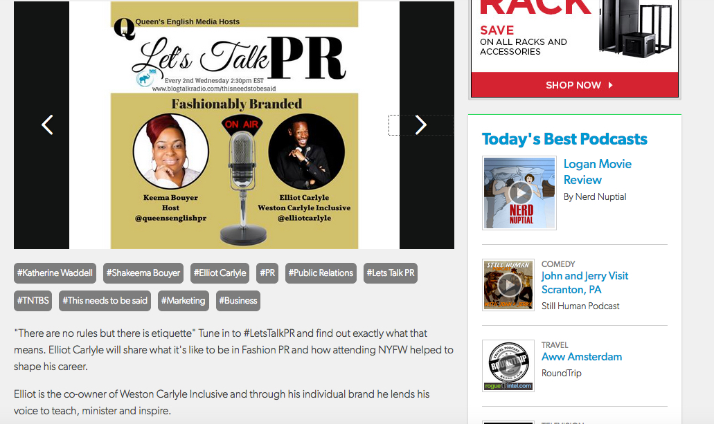 Tearsheet from Elliot Carlyle's interview on Let's Talk PR