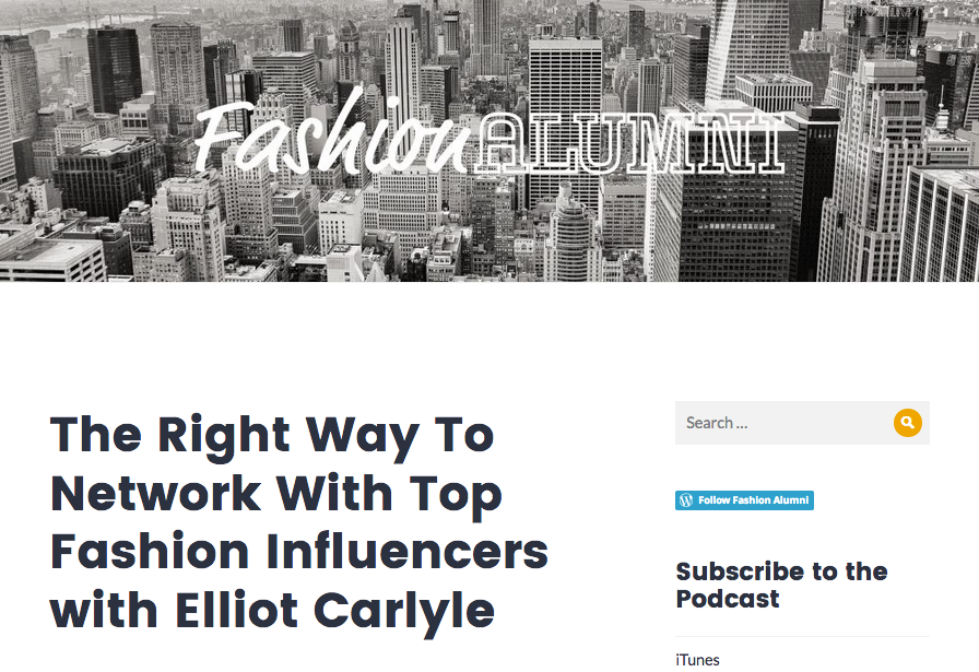 Tearsheet from Elliot Carlyle's interview on Fashion Alumni Podcast