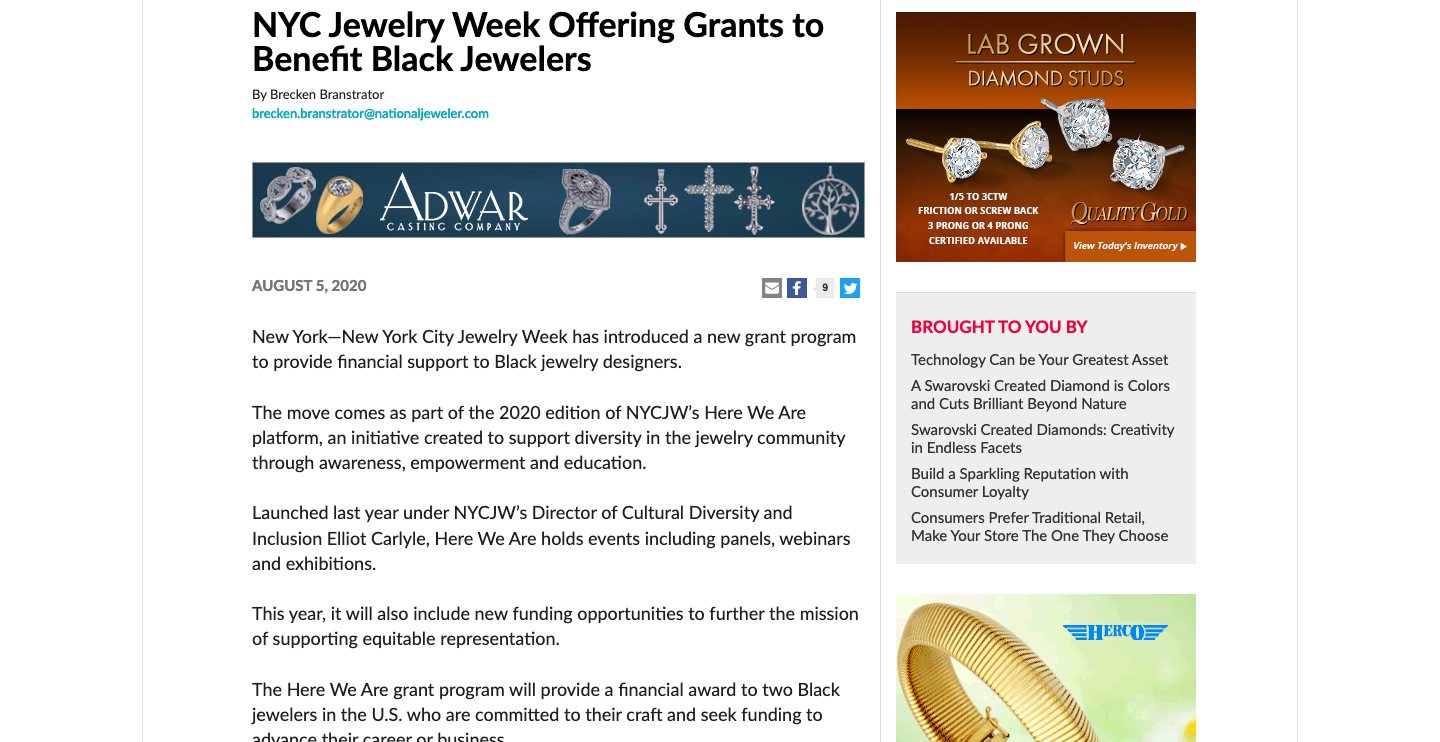 Tear sheet for National Jeweler' article about NYCJW Funding Opportunities for Black Jewelers